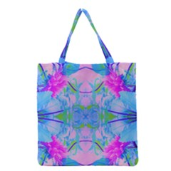 Pink And Purple Dahlia On Blue Pattern Grocery Tote Bag by myrubiogarden