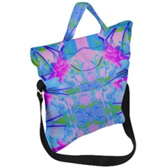 Pink And Purple Dahlia On Blue Pattern Fold Over Handle Tote Bag by myrubiogarden