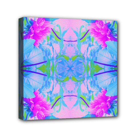 Pink And Purple Dahlia On Blue Pattern Mini Canvas 6  X 6  (stretched) by myrubiogarden