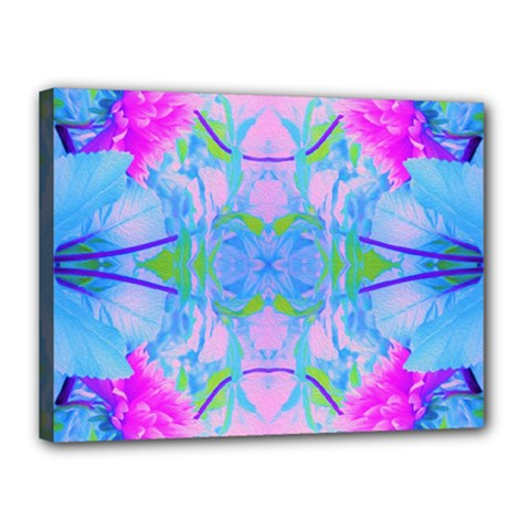 Pink And Purple Dahlia On Blue Pattern Canvas 16  X 12  (stretched) by myrubiogarden