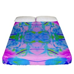 Pink And Purple Dahlia On Blue Pattern Fitted Sheet (king Size)