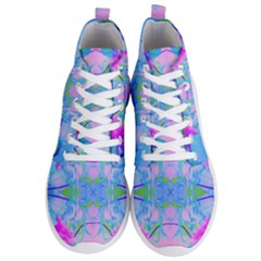 Pink And Purple Dahlia On Blue Pattern Men s Lightweight High Top Sneakers by myrubiogarden