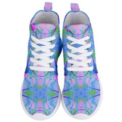 Pink And Purple Dahlia On Blue Pattern Women s Lightweight High Top Sneakers by myrubiogarden