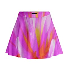 Fiery Hot Pink And Yellow Cactus Dahlia Flower Mini Flare Skirt by myrubiogarden