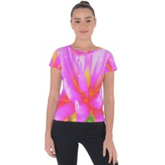 Fiery Hot Pink And Yellow Cactus Dahlia Flower Short Sleeve Sports Top  by myrubiogarden