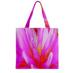 Fiery Hot Pink And Yellow Cactus Dahlia Flower Zipper Grocery Tote Bag by myrubiogarden