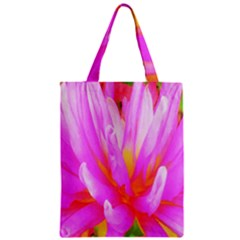 Fiery Hot Pink And Yellow Cactus Dahlia Flower Zipper Classic Tote Bag by myrubiogarden