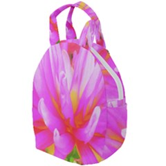 Fiery Hot Pink And Yellow Cactus Dahlia Flower Travel Backpacks by myrubiogarden