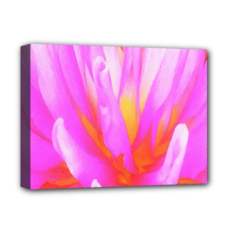 Fiery Hot Pink And Yellow Cactus Dahlia Flower Deluxe Canvas 16  X 12  (stretched)  by myrubiogarden