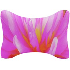 Fiery Hot Pink And Yellow Cactus Dahlia Flower Seat Head Rest Cushion by myrubiogarden