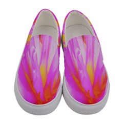 Fiery Hot Pink And Yellow Cactus Dahlia Flower Women s Canvas Slip Ons