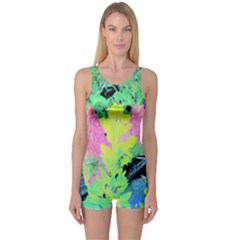 Fluorescent Yellow Smoke Tree With Pink Hydrangea One Piece Boyleg Swimsuit by myrubiogarden