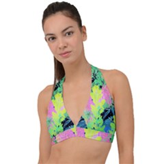 Fluorescent Yellow Smoke Tree With Pink Hydrangea Halter Plunge Bikini Top