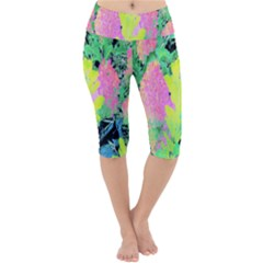 Fluorescent Yellow Smoke Tree With Pink Hydrangea Lightweight Velour Cropped Yoga Leggings by myrubiogarden