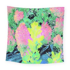 Fluorescent Yellow Smoke Tree With Pink Hydrangea Square Tapestry (large) by myrubiogarden