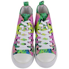Fluorescent Yellow Smoke Tree With Pink Hydrangea Women s Mid Top Canvas Sneakers
