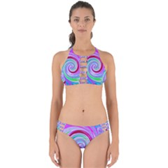 Groovy Abstract Red Swirl On Purple And Pink Perfectly Cut Out Bikini Set by myrubiogarden