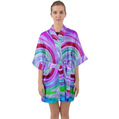 Groovy Abstract Red Swirl On Purple And Pink Quarter Sleeve Kimono Robe by myrubiogarden