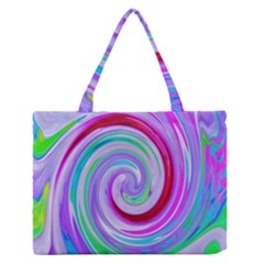 Groovy Abstract Red Swirl On Purple And Pink Zipper Medium Tote Bag by myrubiogarden