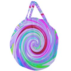 Groovy Abstract Red Swirl On Purple And Pink Giant Round Zipper Tote