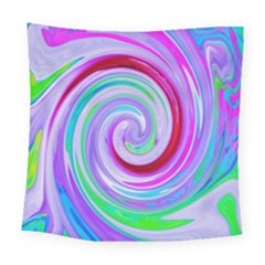 Groovy Abstract Red Swirl On Purple And Pink Square Tapestry (large) by myrubiogarden