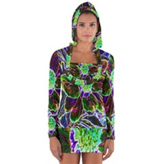 Abstract Garden Peony In Black And Blue Long Sleeve Hooded T Shirt