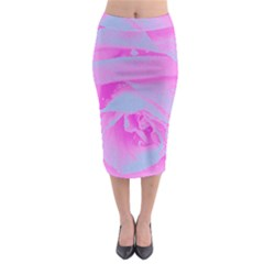 Perfect Hot Pink And Light Blue Rose Detail Midi Pencil Skirt