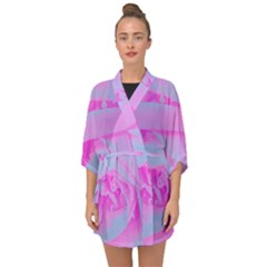 Perfect Hot Pink And Light Blue Rose Detail Half Sleeve Chiffon Kimono by myrubiogarden