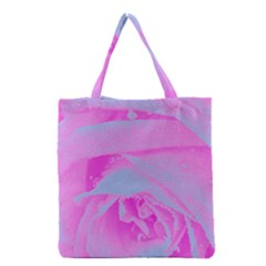 Perfect Hot Pink And Light Blue Rose Detail Grocery Tote Bag by myrubiogarden