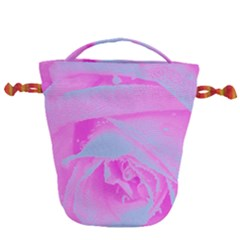 Perfect Hot Pink And Light Blue Rose Detail Drawstring Bucket Bag by myrubiogarden