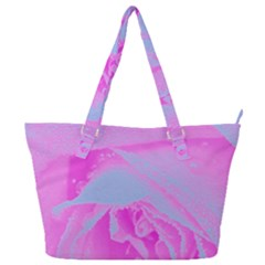 Perfect Hot Pink And Light Blue Rose Detail Full Print Shoulder Bag by myrubiogarden