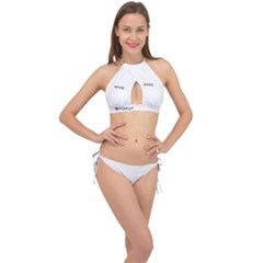 Abstract Zig Zag Cross Front Halter Bikini Set