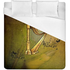Wonderful Golden Harp On Vintage Background Duvet Cover (king Size)