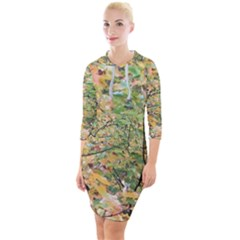 Yellow And Green Leaves Quarter Sleeve Hood Bodycon Dress by SusanFranzblau