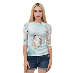 Cute Little Maltese With Flowers Quarter Sleeve Raglan Tee by FantasyWorld7