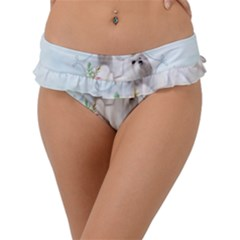 Cute Little Maltese With Flowers Frill Bikini Bottom