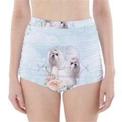 Cute Little Maltese With Flowers High Waisted Bikini Bottoms