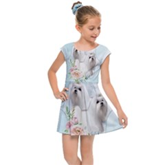 Cute Little Maltese With Flowers Kids Cap Sleeve Dress by FantasyWorld7