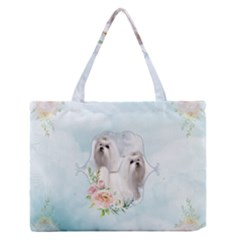 Cute Little Maltese With Flowers Zipper Medium Tote Bag by FantasyWorld7