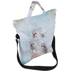 Cute Little Maltese With Flowers Fold Over Handle Tote Bag by FantasyWorld7