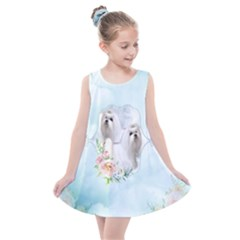 Cute Little Maltese With Flowers Kids  Summer Dress by FantasyWorld7