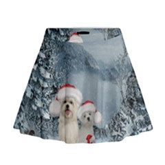 Christmas, Cute Dogs And Squirrel With Christmas Hat Mini Flare Skirt