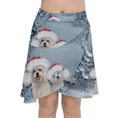 Christmas, Cute Dogs And Squirrel With Christmas Hat Chiffon Wrap Front Skirt