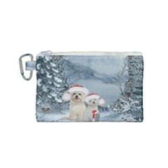 Christmas, Cute Dogs And Squirrel With Christmas Hat Canvas Cosmetic Bag (small) by FantasyWorld7