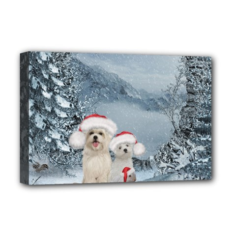 Christmas, Cute Dogs And Squirrel With Christmas Hat Deluxe Canvas 18  X 12  (stretched)
