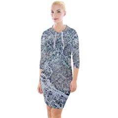 Marble Pattern Quarter Sleeve Hood Bodycon Dress