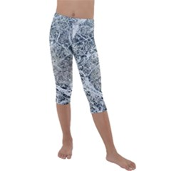 Marble Pattern Kids  Lightweight Velour Capri Leggings