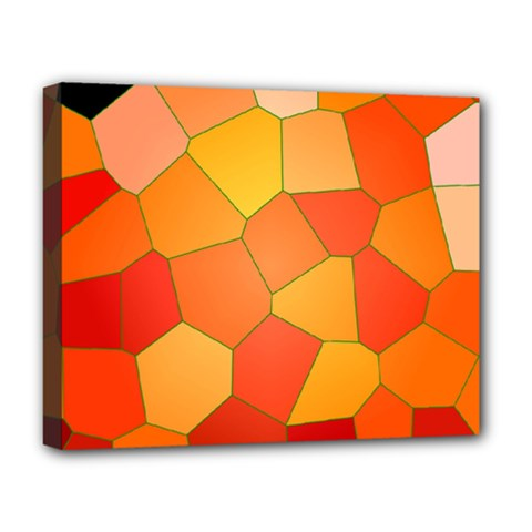 Background Pattern Orange Mosaic Deluxe Canvas 20  X 16  (stretched) by Mariart