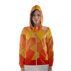 Background Pattern Orange Mosaic Hooded Windbreaker (women)