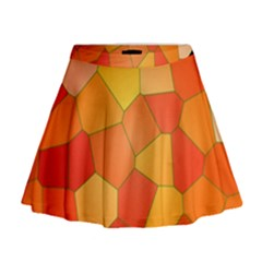 Background Pattern Orange Mosaic Mini Flare Skirt by Mariart